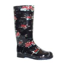 Lady Stork Roxi Flor - Bota Lluvia Mujer Goma Caña Alta