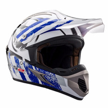 Casco Ls2 Mx 433 Cross Stripe Azul Motocross Enduro Atv Fas.