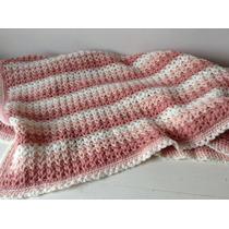 Manta Tejida A Mano Crochet 73*73 Cm Rosa Blanca