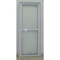 Puerta Herrero Aluminio Blanco Vidrio Entero 70x200
