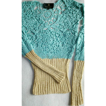 Solnicki Sweater Hilo Seda Artesanal Combinado Hermoso!
