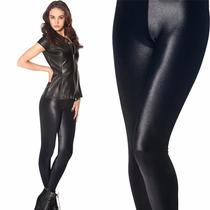 Calzas Leggings Chupin Negras Brillosas 100 % Lycra Premium