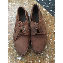 Zapatos Gamuza Marrón Con Cordón Poco Uso