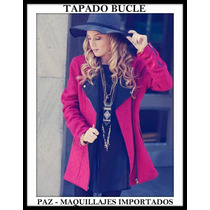 Exclusivo Tapado Saco Bucle - Fucsia Con Interior Negro