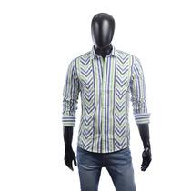 Camisa A Rayas Verde Azul Y Blanco Semi Entallada - Relax Mu