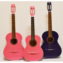 Guitarra Criolla Alta Gama Rosa Violeta Funda Acolchada Puas