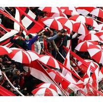 Paraguas Grande Blanco Con Rojo Excelente Calidad Reforzado