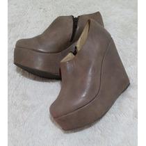 Zapato Botineta Bota Corta 100% Cuero Nuevas Con Plataforma