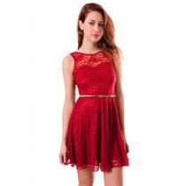 Vestido Encaje Escote Corazón, Espalda Descubierta, M-0032