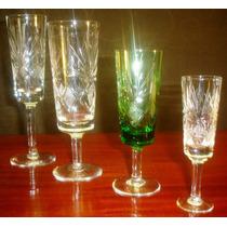 Antiguo Juego 42 Copas Cristal Tallado 9 Pers.impecable-745