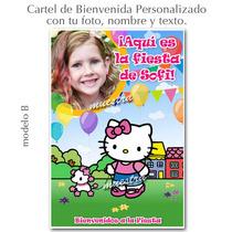 Hello Kitty Cartel Cumpleaños Personalizado Tu Foto Y Nombre