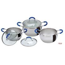 Bateria Cocina Set Acero Inoxidable Triple Fondo Cacerolas