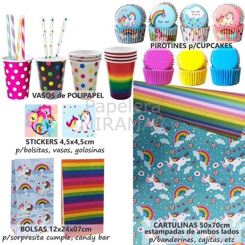 39055d59f Kit Cumple Unicornios Bolsitas + Pirotines + Vasos + Cartuli en ...
