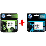 Combo Cartucho Hp Original 664xl Negro + 664 F6v28al Color
