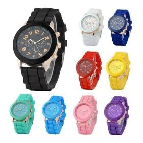 Reloj Pulsera Silicona Geneva X10 Unidades Colores Envíos Ya *** Full-time Mania *** Mercadolider Platinum !!