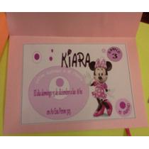 Invitaciones Para Bautismo O Primer Añito Minie O Mickey