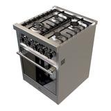 Cocina Morelli Zafira 550 4 Hornallas  Multigas Plateada 220v Puerta Visor