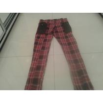 Calza Tipo Pantalon Escocesa Roja