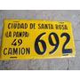 Patente De Chapa. Camion De Santa Rosa 692