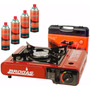 Anafe Portatil Camping Gas Butano + 4 Cartucho + Maletin