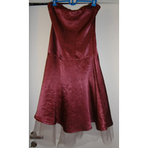 Vestido Strapless Con Tul Color Bordeau