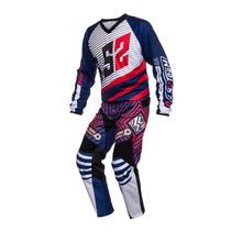 Conjunto Ls2 Motocross Enduro Atv Azul/rojo Talle L-34