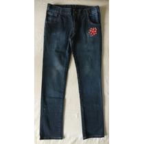 Mimo&co. Pantalón Jean Azul. Niña. Bordado. Talle 12 Años