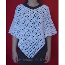 Poncho - Capa De Algodón Tejido En Crochet