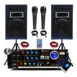 2 Bafle 300w + Consola Usb Sd Fm Karaoke 4 Canales 250w+2mic