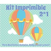 Kit Imprimible Globos Bautismo Primer Año Baby Shower Varon