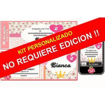 Kit Imprimible Shabby Chic Romántico 100% Personalizado