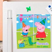 Peppa Pig Cumpleaños: 10 Souvenirs Rompecabezas Imantados