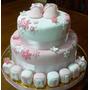 Torta Decorada 2k+piso Falso Baby Shower Nacimiento Bautismo