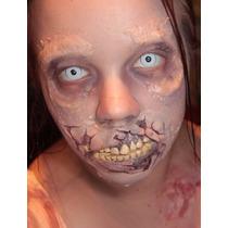 Lentes De Contacto Zombie Blancos, Pupilentes, Disfraces!