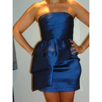 Vestido De Fiesta Corto Imp Usa Talle 6 Calvin Klein Azul