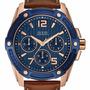 Reloj Guess Hombre W0600g3 Dorado Cuero Azul Agente Oficial