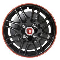 Taza Universal Susuka 14 Pulg Negra Borde Rojo Con Logo Fiat