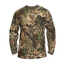 Remera Manga Larga Camiseta Hombre Camuflada Hoja 4d Forest