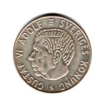 Moneda Suecia 1 Krona De Plata Año 1956 Km#826 Rey Gustaf Vi