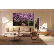 Arbol Con Flores Lila Canvas Bastidor 120x75 Cm -envios