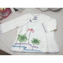 Camisa China Mujer Importada Talle X L - Blanca Algodon Loto
