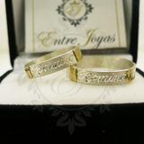 Alianzas Plata 925 Y Oro Anillos Cinta Plana Compromiso 4mm
