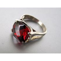 Anillo De Plata 925 Y Gran Cubic Rojo Rubí