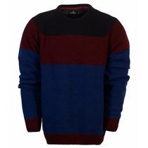 Sweater Pullover Buzo Brooksfield Hombre Lana Algodon Rayado