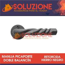 Manija Picaporte Retorcida Hierro Negro Fundicion Boca Llave