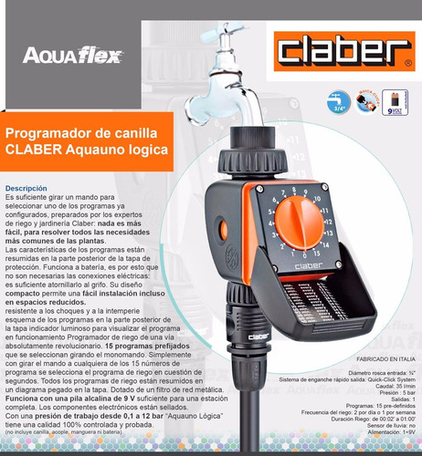 Programador Canilla Riego Baja Presion Claber 8422 Aquaflex