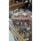 Antigua Radio A Galena Caja De Roble Con Auricular