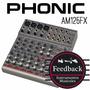 Phonic Am125fx - Consola 12 Canales Con Phantom Power Y Efec