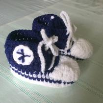 Escarpines Tejidos A Crochet Tipo Zapatillas All Stars