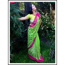 Sari De Georgette, Bordado Con Lentejuelas, Vestido Hindu